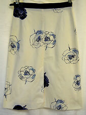 Tara Jarmon Rose Print Fully Lined Slim Stretch Skirt Eur 36 White Ink Blue Sz 6