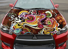 Abstract Flower Full Color Graphics Adhesive Vinyl Sticker Fit Car Bonnet #126