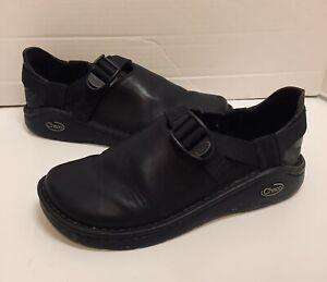 Chaco Pedshed Vibram Clogs Sandals Black Leather Shoes J101592 Womens Size 7.5