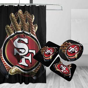 San Francisco 49ers Bathroom Rugs 4PCS Shower Curtain Non-Slip Toilet Lid Cover