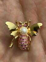 Gold tone Faux Pearl Pink Rhinestone winged insect bee moth brooch pin marked