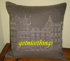 New Yves Delorme Rive Gauche Seine Paris Embroidery Gray 100% Linen Pillow Cover