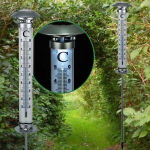 112cm SOLAR THERMOMETER Gartenthermometer beleuchtet LED Garten Außenthermometer