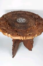 Vintage 1970's Hand Carved Wooden Side Table wiyh inlays (nb)