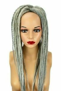 White & Gray Mix Dread Falls, Hair Pieces, 20 Inches, Synthetic, Uni-Sex