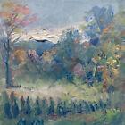 Original Plein Air oil painting fall Trees Grey Sky impressionism Art 8x8 Canvas