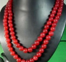 "Long 36"" Natural 10mm Red Ruby Round Beads Gemstone Necklace AAA"
