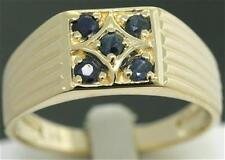 Natural Blue Sapphire 9k 9ct 375 Solid Gold Gents Mens Ring