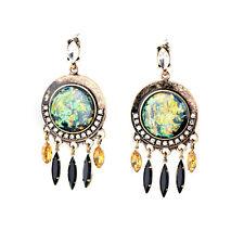 Vintage Ethnic Spike Elegant Boutique Disk Black Crystal Citrine Drop Earrings