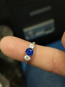 Pailin Blue Sapphire 0.86 Carat & Old Mine Cut Diamond Platinum Ring - Size 5