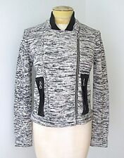 VGC Anthropologie One Girl Who Mottled Black Asymmetric Zip Cardigan Sweater M