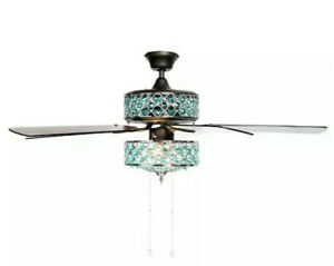 """Style at Home with Margie 52"""" Double Lit Glass Crystal Ceiling Fan w/ Remote"""