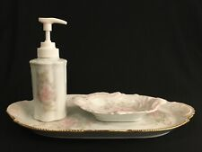 Hand Painted Porcelain Vanity Tray Lotion Soap Dispenser Pump and Soap Dish