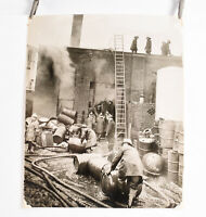 1940's Fireman Photo Philadelphia 9 x 11 Fighting Fire In Warehouse Factory V30