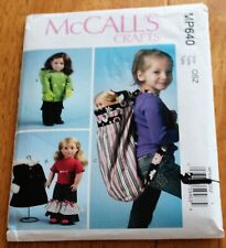 "McCalls Pattern #640 or 6854 Doll Clothing 18"" Dolls - 2 Outfits, Carrier, Uncut"