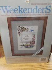 """JCA Weekenders Counted Cross Stitch Kit """"Family Sign Board"""" 8"""" x 10"""" with Mat #2"""