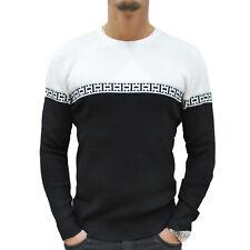 Maglione Uomo girocollo Slim fit Maglia pullover Invernale Casual Nero Bianco