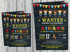 COWBOY INVITATION Personalised Birthday Invite Cowgirl Western Rodeo Wanted
