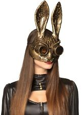 Steampunk Rabbit Mask Mens Ladies Deluxe Masquerade Halloween Gold Maske NEW