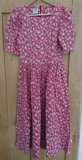 VINTAGE Laura Ashley red coral pink floral cotton summer tea dress midi 8 10
