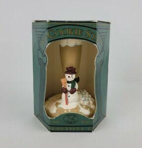 Vintage Brown Bag Cookie Art Stamp Press Christmas Snowman Ceramic #15 Easy