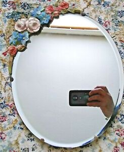 Oval Bevelled Edge Easel Back Barbola Mirror c.1920-30's 12.5 inches high