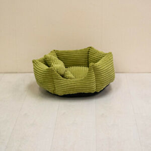 Small Green Soft Plush Pet Dog Bed With Green Pillow