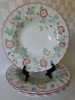 """Set of 4 Rimmed Soup Bowls Churchill Briar Rose Staffordshire 8.75"""" Pink Ruffled"""