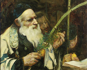"Examining The Lulav Jewish History Painting 12.5"" x 15.3"" Real Canvas Art Print"