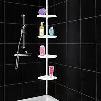 4 Tier Adjustable Telescopic Corner Shower Bathroom Shelf Organiser Caddy White
