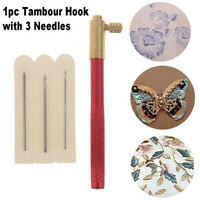 Embroidery Tambour Crochet Hooks Knitting Tool with 3 Needles French Crochet
