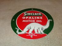 "VINTAGE ""SINCLAIR OPALINE OIL"" W/ DINO DINOSAUR 9"" PORCELAIN METAL GASOLINE SIGN"