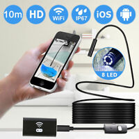 WIFI Endoscope 2MP 8mm Borescope Inspection Camera iPhone Android PC 1/2M
