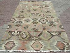 """Vintage Turkish Rug Antalya Kilim Wool Rugs Pale Colored Rug 61,8""""x92,9"""" Carpet"""
