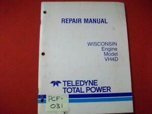 1987 WISCONSIN ENGINE MODEL VH4D REPAIR & SERVICE MANUAL TELEDYNE TOTAL POWER