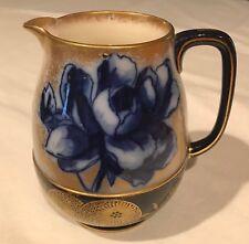 Doulton Burslem Aesthetic Period Blue Peony Butterfly Jug A1167 England 1890s