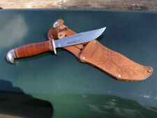 "VTG Estwing Finland Fixed Blade Leather Handle 8.75"" Knife w/ Sheath BEAUTIFUL!"