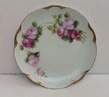 Hutschenreuther Selb Bavaria Pink Roses w/Gold Trim China Dessert plate Mint!