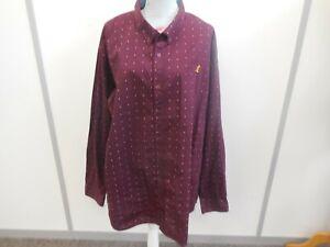 Kangol Men's Burgundy & White Polka Dot Long Sleeved Shirt Size 4XL 100% Cotton