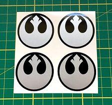4 X 40mm Aleación Rueda Pegatinas Star Wars Rebelde Alianza Centro De Plata Insignia Cap