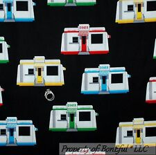 BonEful Fabric FQ Cotton Quilt B&W Red Route 66 DINER Travel Trailer Camp Cabin