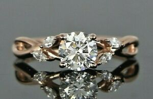 14K Rose Gold GIA Diamond 0.90 E VS2 Marquise Willow Engagement Ring Size 6