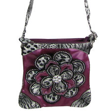 PURPLE RHINESTONE LEOPARD FLOWER DISTRESSED LOOK MESSENGER BAG SATCHEL BLING