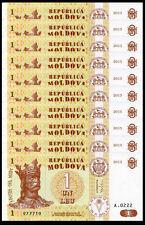 Lot 10Pcs Moldova 1 Lei Europe Paper Money,2013,P-8, Uncirculated