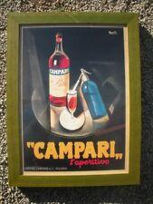 CAMPARI L'APERITIVO Stampa Litografata CORNICE LEGNO