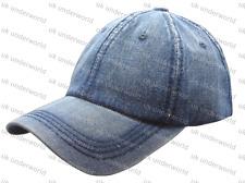 Ladies Denim Baseball Cap Adjustable Strap Mens Adults Curved Peak Sun Hat
