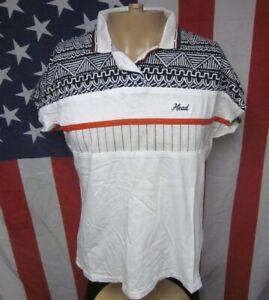 HEAD TENNIS athletic lrg polo shirt 1980s racquetball blockprint stripes OG sewn