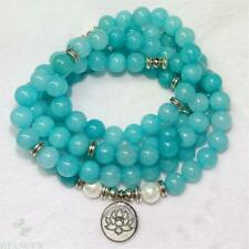 8mm Aquamarine 108 Bead White Pearl Lotus Pendant Mala Bracelet Spirituality