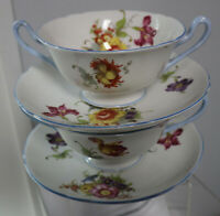 4pc Shelley Dresden Flowers 2 Cream Bullion Soup Bowl & 2 Saucer