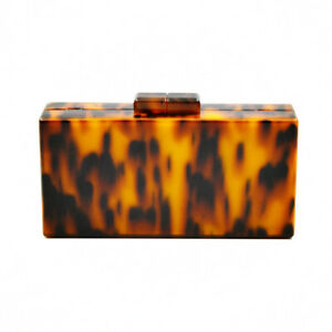 Tortoise Shell Acrylic Bag Mini Clutch Evening Bag Messenger Handbag Amber Purse